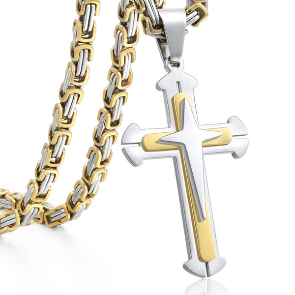 Stainless Gold Knight Cross Bizantine Chain