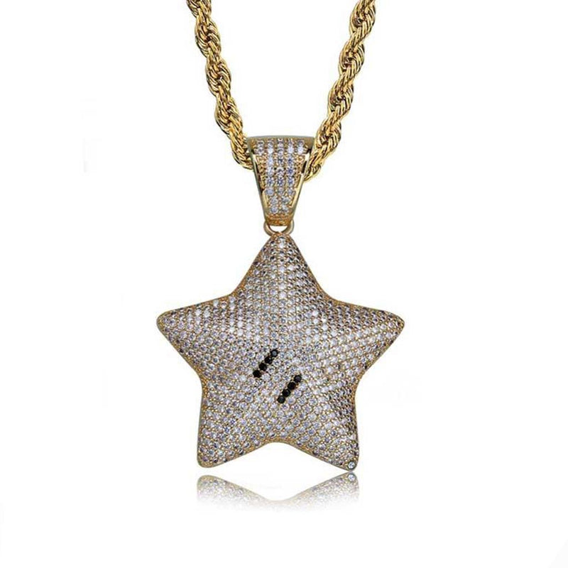 Iced Cartoon Star Pendant 14k Gold Plated