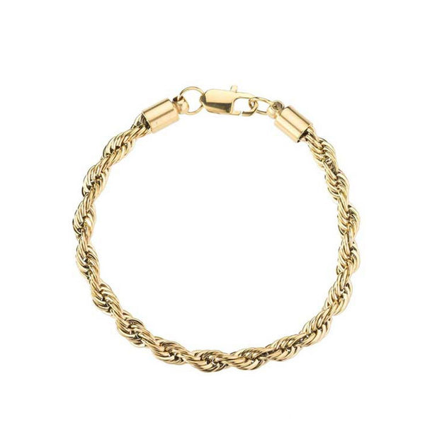 Gold/White Gold/Black Rope Bracelet