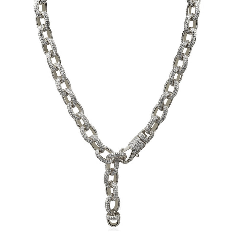 15mm 14K Diamond Gold Twisted Chain Necklace