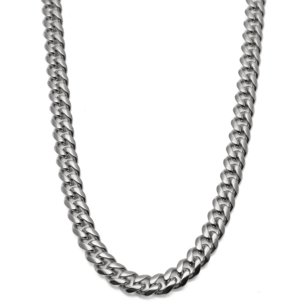 8/10/12/14mm Cuban Link White Gold Chain