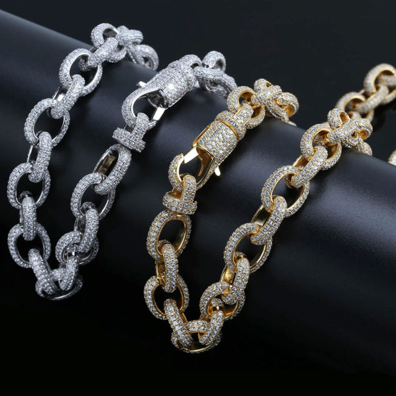 15mm 14K Diamond White Gold Twisted Chain Necklace