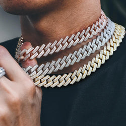 15mm Iced Prong Cuban Link Chain 14K Gold
