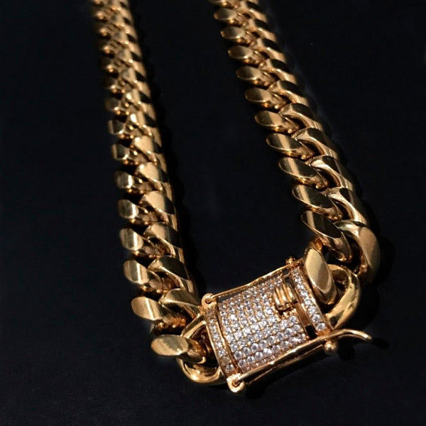 Iced Clasp Miami Cuban Bundle Chain&Bracelet 18K