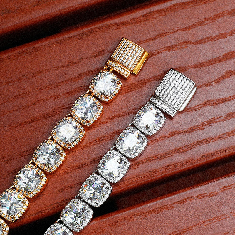 18k Gold Diamond Cluster Tennis Men´s Necklace