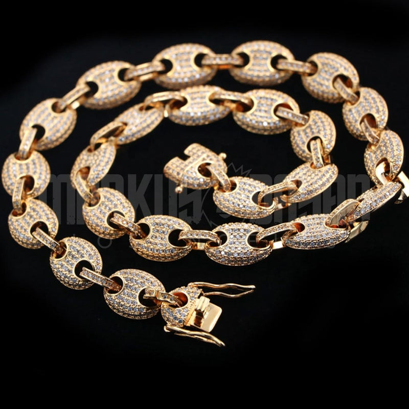 13mm 18K Gold Finish Coffee Bean Chain
