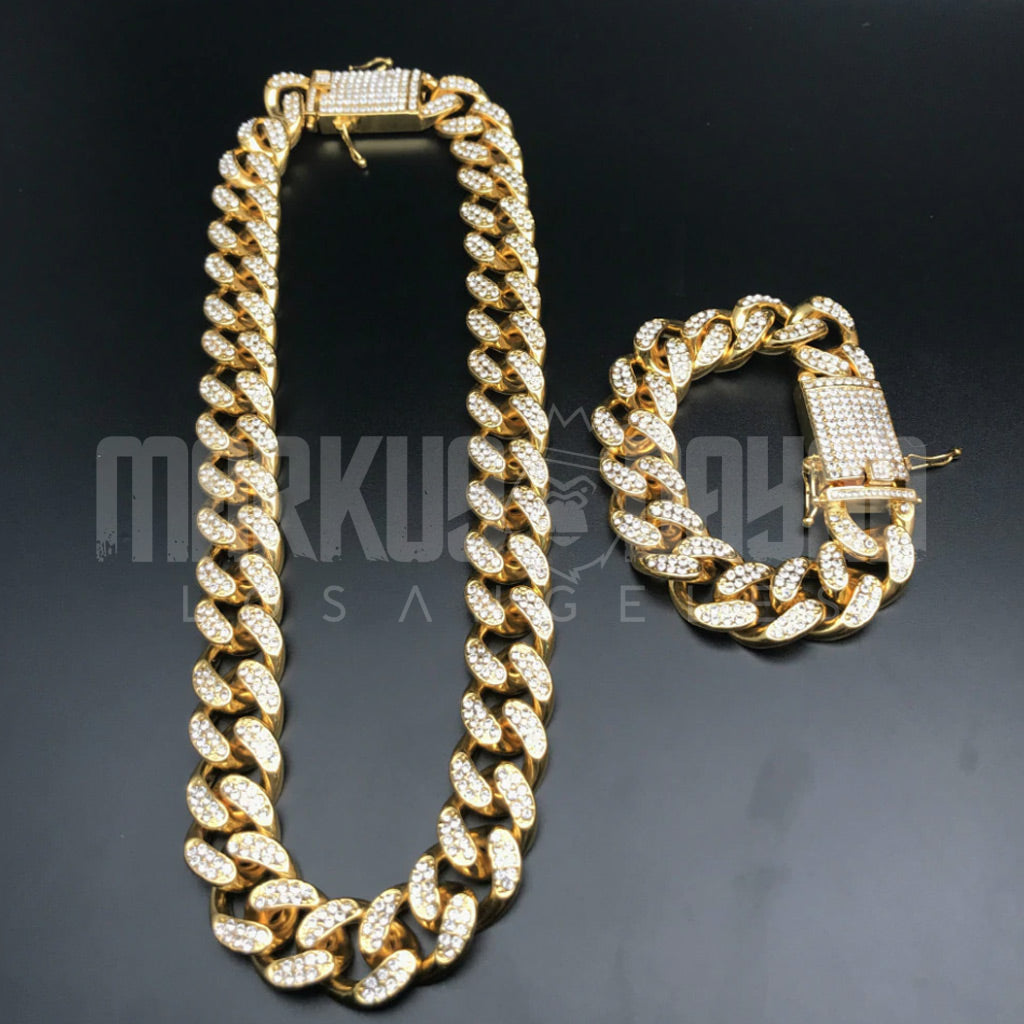 Iced Cuban Gold Bundle 20mm Chain&Bracelet