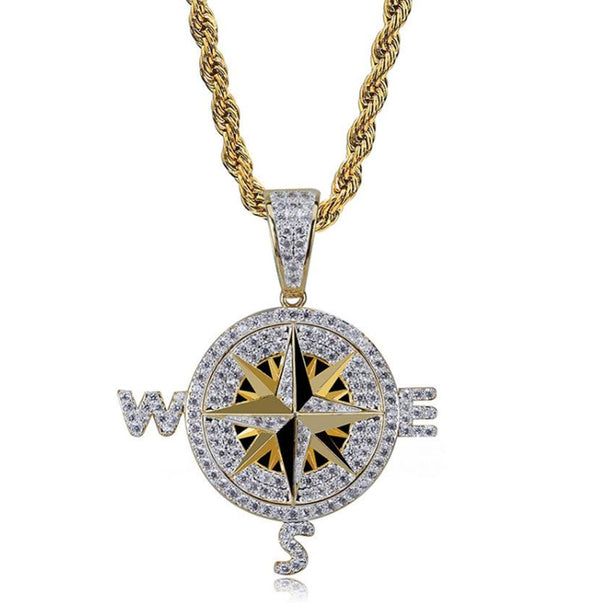 Iced Compass Pendant 14K Gold Plated