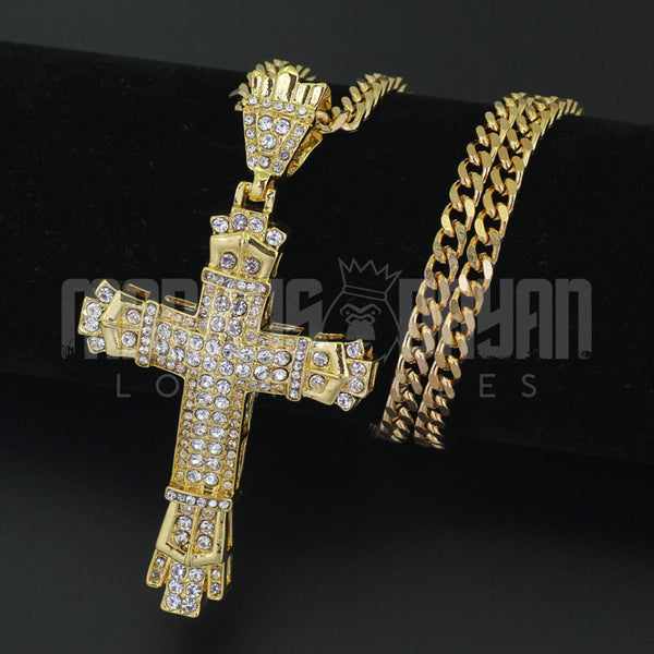 Iced Cross Diamond  Pendant 14K Gold Plated
