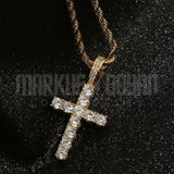 18K Gold Finish S925 Silver Cross CZ Pendant