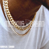12mm Premium Iced Cuban Chain and Tennis Chain Set