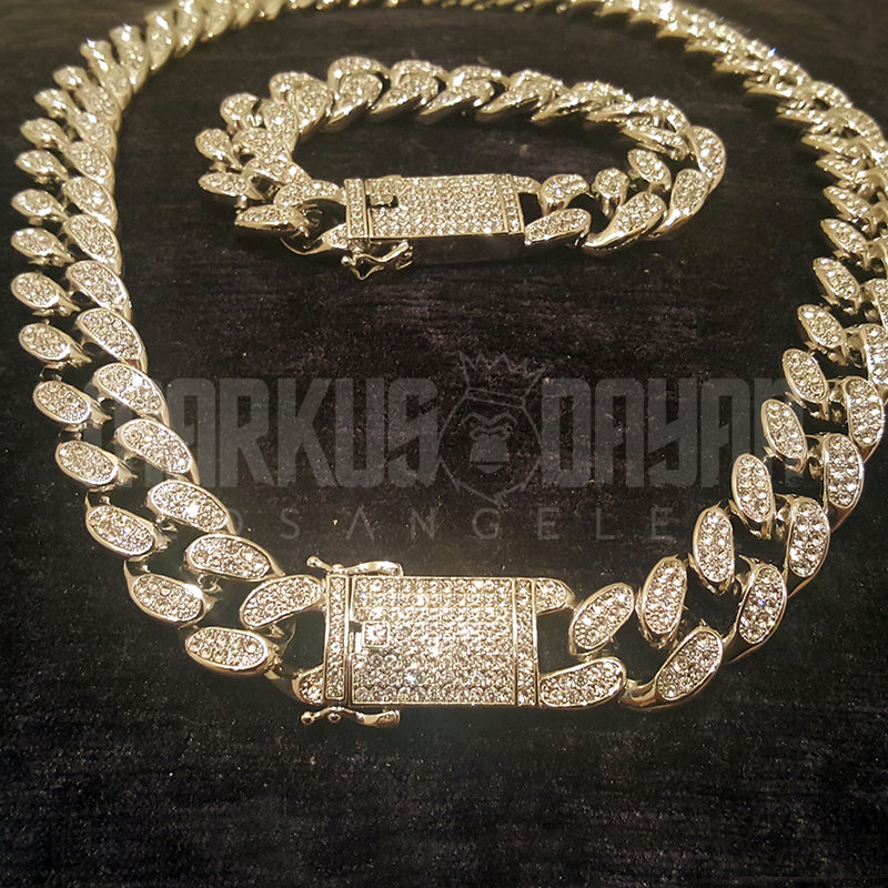 20mm Iced Cuban Chain 14K Gold