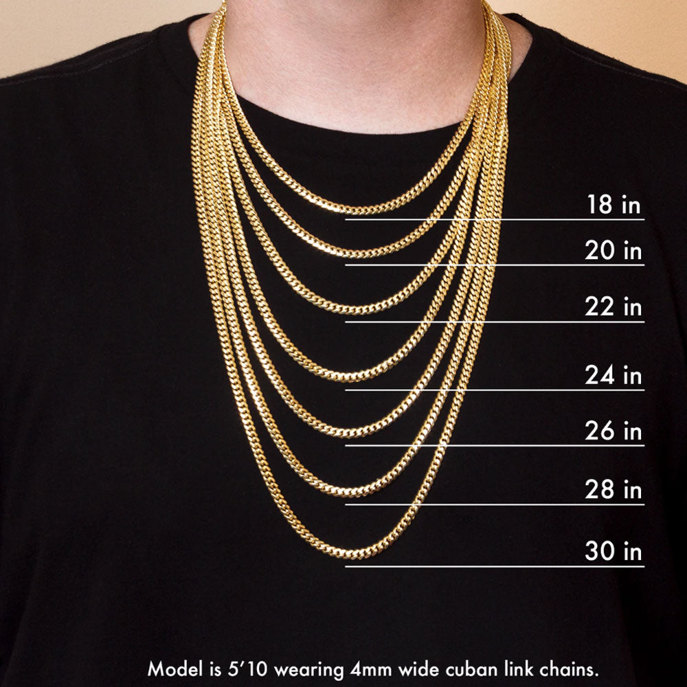 18K Gold Cuban Link Chain 3/5/7/9/11mm