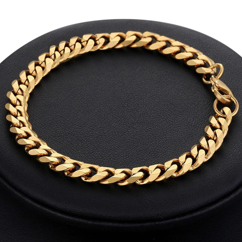 18K Gold Cuban Link Bracelet 3/5/7/9/11mm