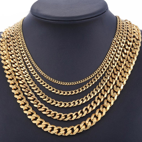 18K Gold Cuban Link Miami Chain 3/5/7/9/11mm