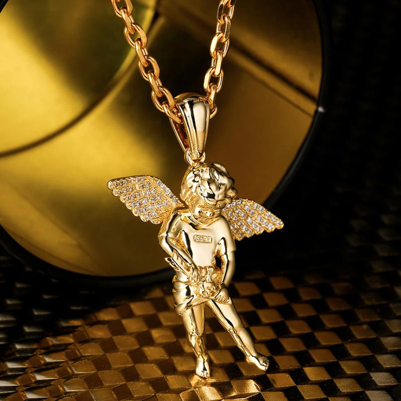 White Gold Iced Cupid Guardian Angel Pendant