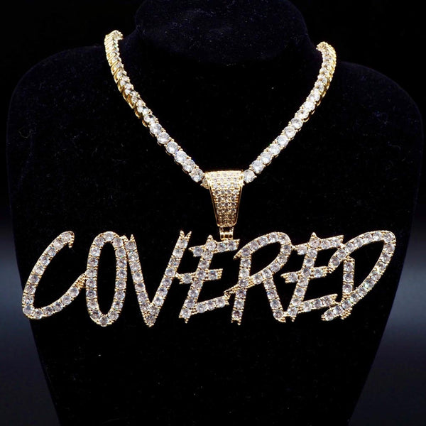 18K Gold Custom Cursive Letters Name Hip Hop Necklace