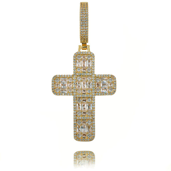 Iced Diamond Cross Necklace Pendant 14K Gold Plated