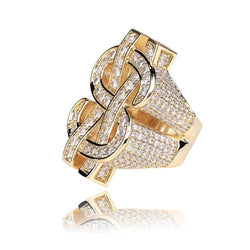 Iced US Dollar Ring 18K Gold Plated