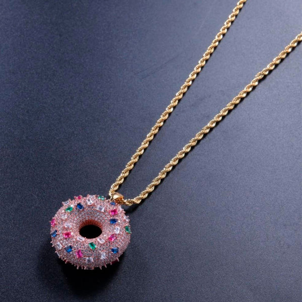 Iced Donut Necklace 14k Gold Plated