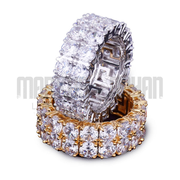 Double Row Iced Diamond Ring