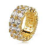 Double Row Iced Out Diamond Ring
