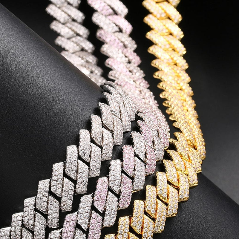 14mm Luxury Prong Cuban Link Iced Diamond chain