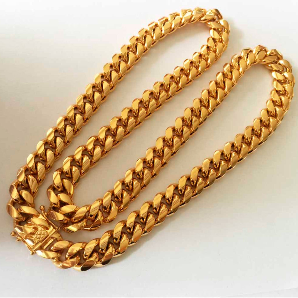 18K Gold PREMIUM Cuban Link Bundle Chain&Bracelet