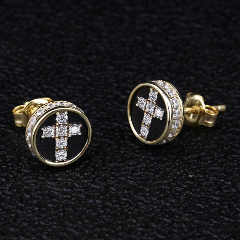 14k Gold Diamond Cross Earrings 925 Sterling Silver Stud