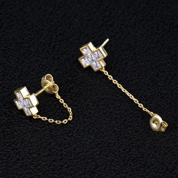 Iced Cross Earrings Bridal in 925 Sterling Silver