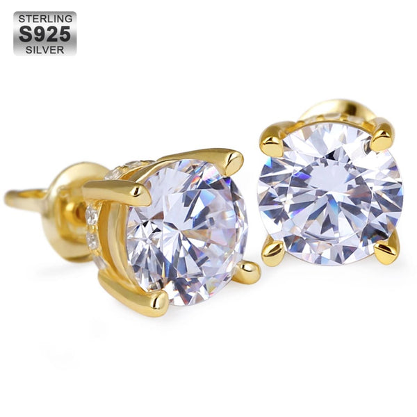18K Gold Finish S925 Silver Round  Earrings