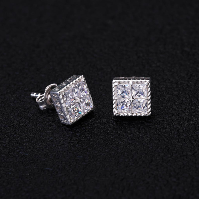 Square Stud Earrings Cubic Zirconia in 925 Sterling Silver