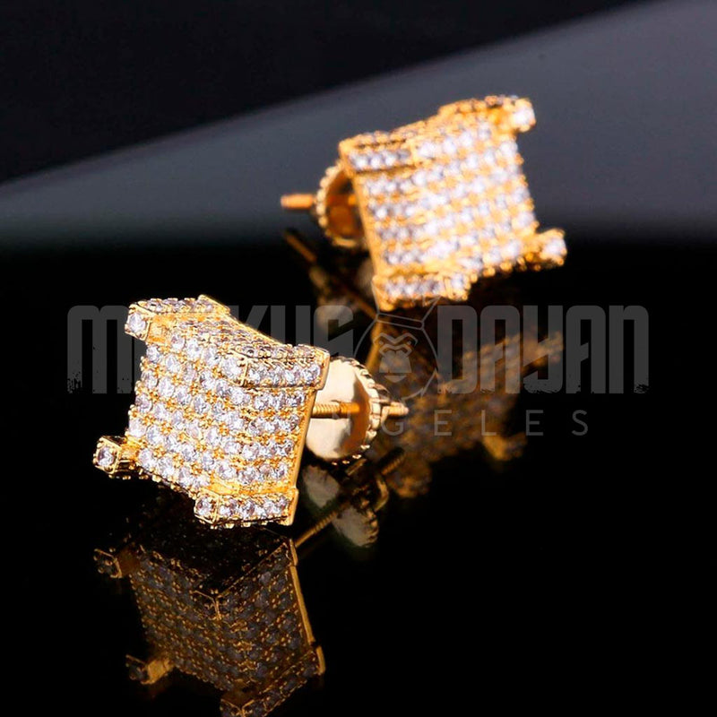 Iced Earrings Bling Square 18K Gold Plated