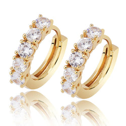 Iced Hoop Earrings 18K Gold Plated