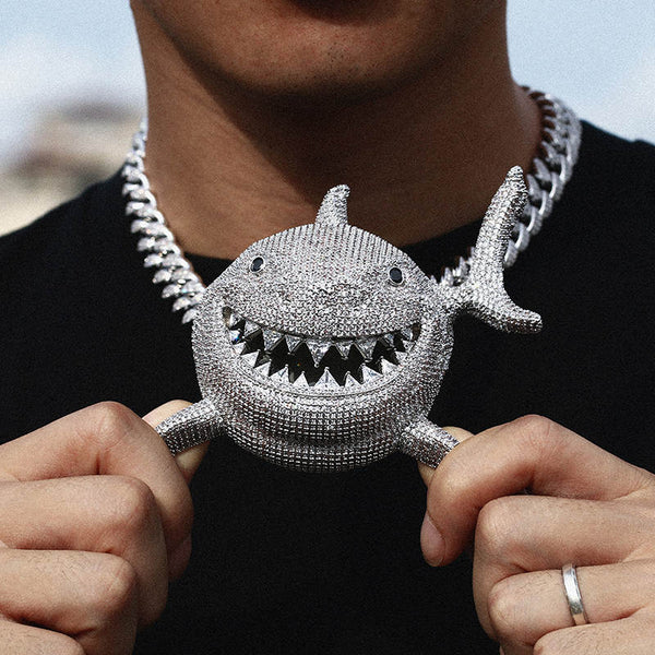 Large Iced Shark 6ix9ine Pendant 14K Gold