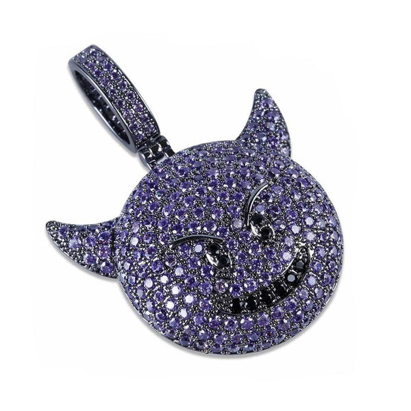 Iced Devil Emoji Black Gold Purple 14k Gold Plated