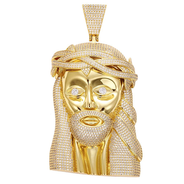 Iced Jesus Face Head Extra Large Pendant 14K Gold Plated