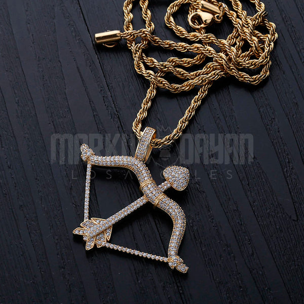 Iced Bow and Arrow Pendant 14k Gold Plated