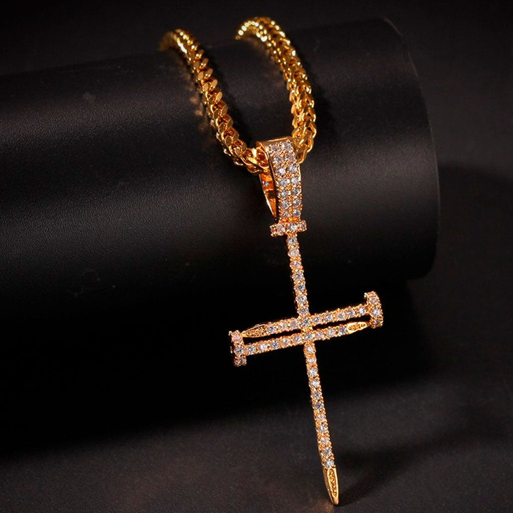 18K Gold Finish S925 Silver Nail Cross