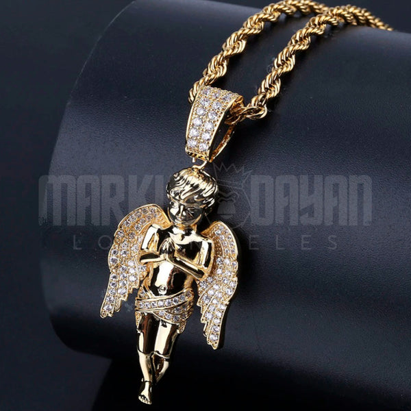 Iced Angel Necklace Pendant 14K Gold Plated