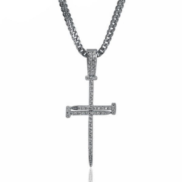 Iced Silver Nail Cross 14K Gold Plated
