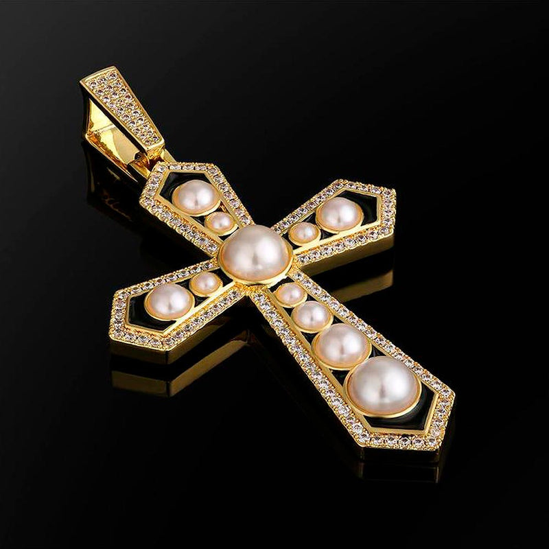Large Diamond Cross Pearl Necklace in White Gold/14K Gold