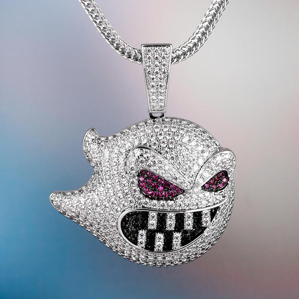 White Gold Iced Out Ghost Hip Hop Pendant