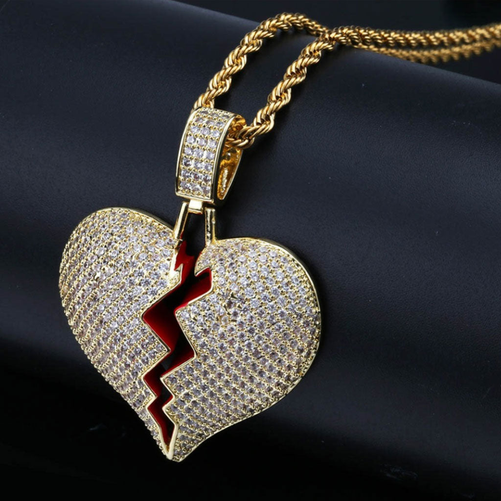 18K Gold Finish S925 Silver Broken Heart Pendant