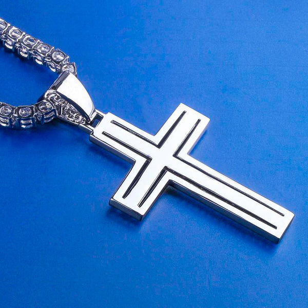Iced Cross Necklace with Double-Layered Cross Pendant in White Gold