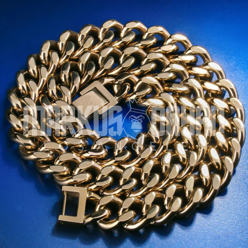 12mm 18K Gold Cuban Link Chain