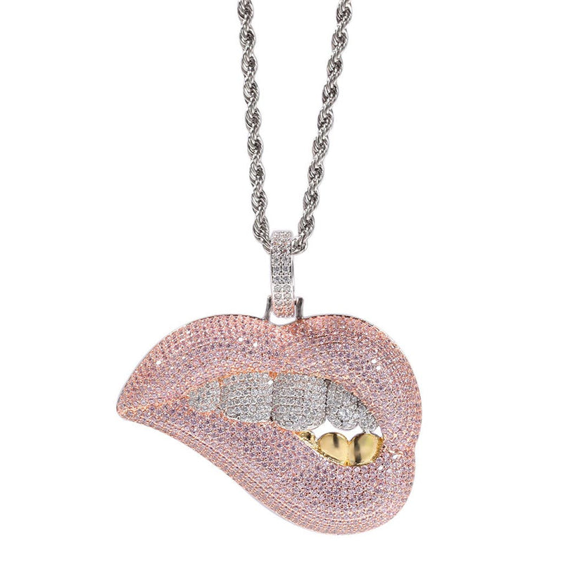Iced Dripping Lips Sexy Mouth Pendant 18K Gold