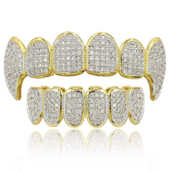 Micro Pave Vampire Fangs Grillz 18k Gold Plated