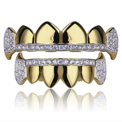 Micro Pave Grillz Gold Teeth 18K Gold Plated