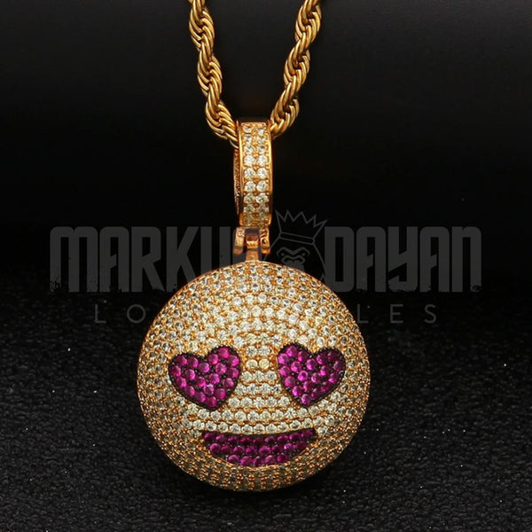 Iced Grinning Face Heart Pendant 14K Gold  Plated